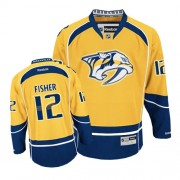 Nashville Predators #12 Men's Mike Fisher Reebok Authentic Gold Home Jersey