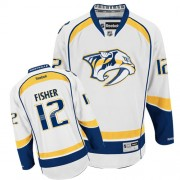 Nashville Predators #12 Men's Mike Fisher Reebok Authentic White Away Jersey