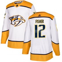 Nashville Predators Men's Mike Fisher Adidas Authentic White Away Jersey