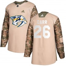Nashville Predators Youth Daniel Carr Adidas Authentic Camo Veterans Day Practice Jersey