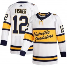 Nashville Predators Men's Mike Fisher Adidas Authentic White 2020 Winter Classic Jersey