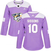 Nashville Predators Women's Colton Sissons Adidas Authentic Purple Fights Cancer Practice Jersey