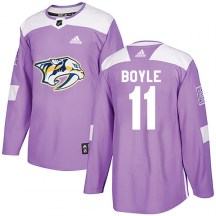 Nashville Predators Youth Brian Boyle Adidas Authentic Purple Fights Cancer Practice Jersey