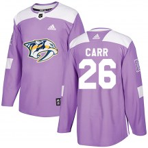 Nashville Predators Youth Daniel Carr Adidas Authentic Purple Fights Cancer Practice Jersey