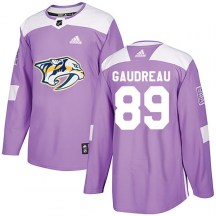 Nashville Predators Youth Frederick Gaudreau Adidas Authentic Purple Fights Cancer Practice Jersey