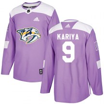Nashville Predators Youth Paul Kariya Adidas Authentic Purple Fights Cancer Practice Jersey