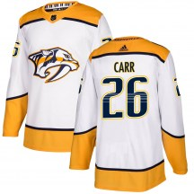 Nashville Predators Youth Daniel Carr Adidas Authentic White Away Jersey