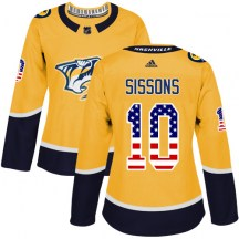 Nashville Predators Women's Colton Sissons Adidas Authentic Gold USA Flag Fashion Jersey