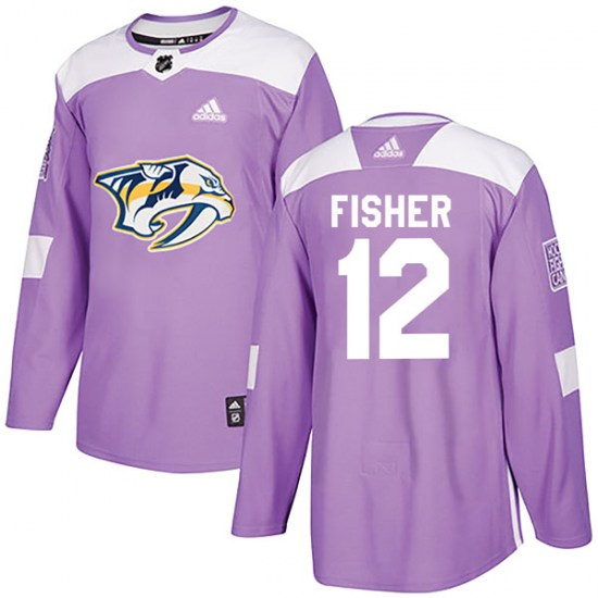 Nashville Predators Youth Mike Fisher Adidas Authentic Purple Fights Cancer Practice Jersey